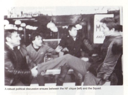 National Front (left) and members of the 'Squad' (who later went onto form AFA) clash at Picadilly Gardens, Manchester in the late 1970s. Picture: No Retreat (Milo Books, 2003)