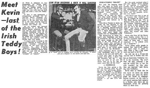 Piece from February 1973 on Rockin Kev. The Sunday Independent.