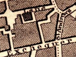 Showing how the courtyard on Dame Lane and St Andrews lane nearly touch, 1836