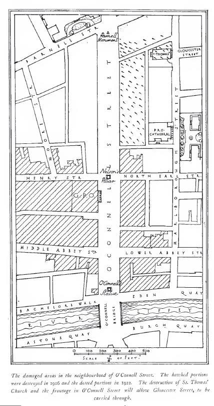 1916-1922 damage in Dublin city centre, from 'Dublin of the Future: The New Town Plan' (1922)