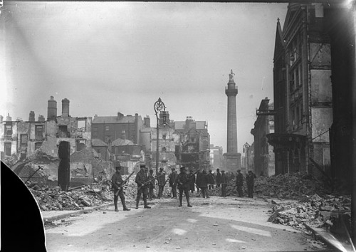 Henry Street in ruins following the Easter Rising (NLI)