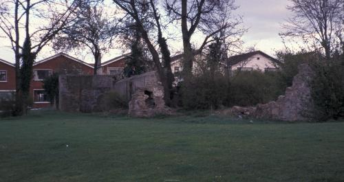 1988 view of ruins of The Priory in Hermitage Estate. Notice graffiti. Credit - Patrick Healy (southdublinlibraries.ie)