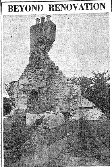 View of a section of The Priory in 1950, showing just how much damage had been done over the years. The Irish Times, 14 September 1950