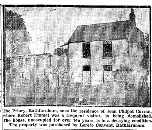 The view of The Priory in 1942. The Irish Press, 12 September 1942.