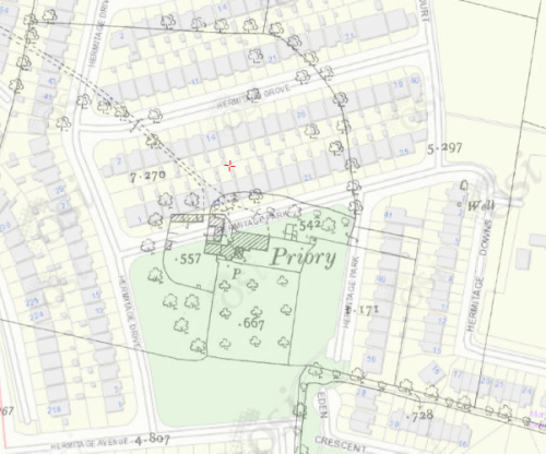 Modern map (c.2012) overlayed with map from c. 1900 showing location of Priory in relation to modern housing development.