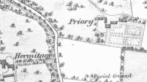 Map of The Priory showing its closeness to Hermitage (St Ednas). 1829-1841