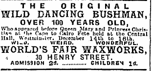 'The original wild dancing bushman' - March 1916