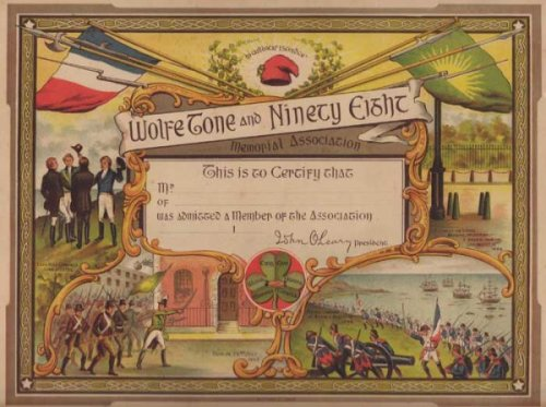 A certificate associated with the 1898 centenary. Notice the French tricolour appears alongside the harp of Ireland. (Image credit: http://www.liveauctioneers.com)