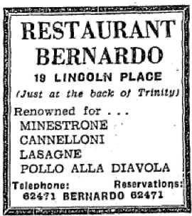 Advertisement for Restaurant Bernardo. The Irish Independent, 29 March 1960.