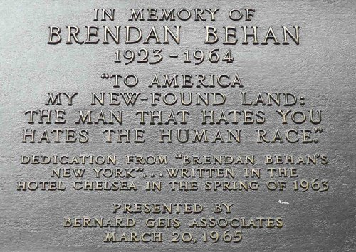 Brendan Behan plaque upon the Chelsea Hotel. Thanks to wheresmybackpack.com