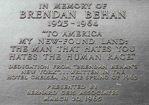 Brendan Behan plaque upon the Chelsea Hotel. Thanks to wheresmybackpack.com