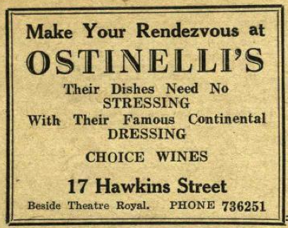 Advertisement for Ostinellis restaurant. Trinity News, 27 May 1954.