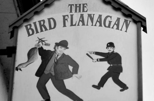 Sign from the Bird Flanagan pub, Rialto.