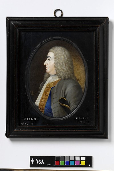 A miniature portrait of Bernard Lens (Father of the artist) by Peter Lens. This image is taken from the Victoria and Albert Museum collection.