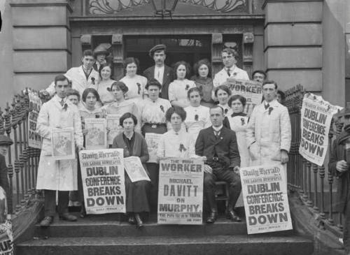 Irish Women's Workers Union activists on the steps of Liberty Hall.