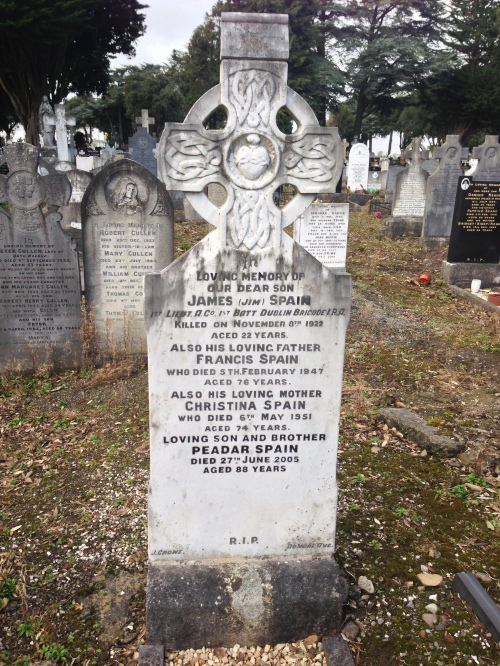 James 'Jim' Spain grave, Glasnevin Cemetery. Credit - Shane Mac Thomais