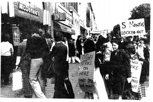 A picket on the O'Connell Street branch (Anarchist Worker newspaper)