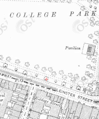 Map showing College Park in relation to the Kildare Street Club