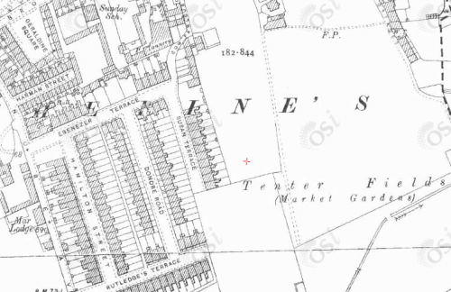 Map showing Geraldine Sq (where Spain was grew up), Tenters Field (where Spain was shot) and Susan Terrace (where his body was found)