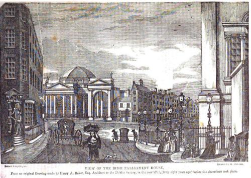 This Dublin Penny Journal scene shows a Sedan chair at College Green.