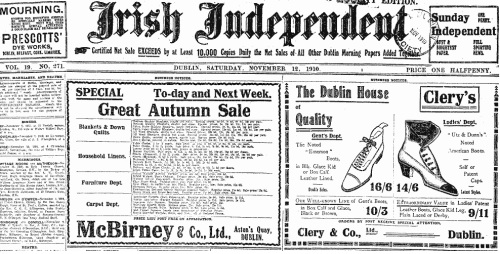 Two aspects of the one empire. An advertisement for Clery's on the front of the Irish Independent (1910)