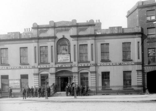 Liberty Hall. Notice the advertisement for the newspaper of the union on the front of the building.