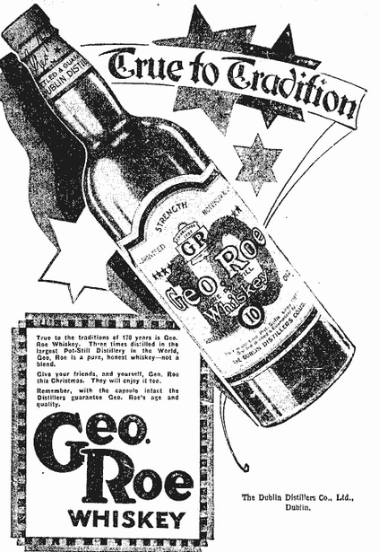 A 1929 advertisement for Roe's whiskey.
