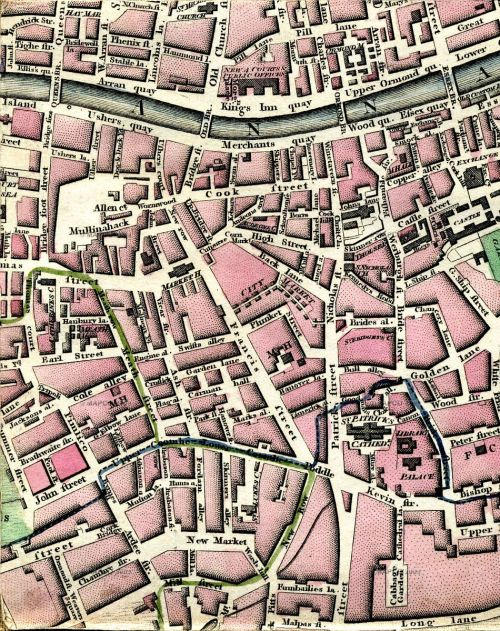 An eighteenth century map of Dublin's liberties, from the excellent http://dublin1798.com