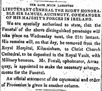 Samuel Auchmuty funeral arrangements. The Freemans Journal, 20 August 1822