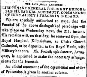 Samuel Auchmuty funeral arrangements. The Freemans Journal, 20 August 1822