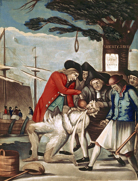 Perhaps the most famous example of an individual falling victim to a tarring and feathering. Boston Commissioner of Customs John Malcolm in 1774.