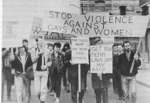 "Fairview Park Protest March photographed on Amiens Street by Derek Speirs, courtesy ""Out For Ourselves"" (Womens Community Press, 1986). Credit - Irish Queer Archives"