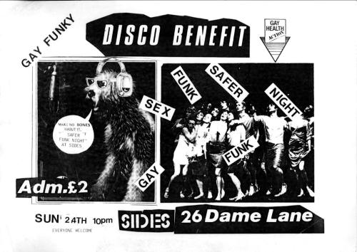 Gay Health Action (GHA) 60's Night Benefit Disco. Flyer, designer unattributed. 1985 [Ephemera Collection, IQA/NLI]