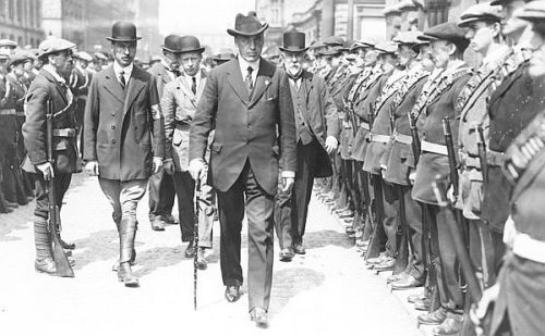 Dubliner Edward Carson inspects the Ulster Volunteer Force (UVF) in 1914.
