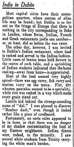A short review of what we know is the Leeson St. Indian restaurant. The Irish Times, 17 August 1940.