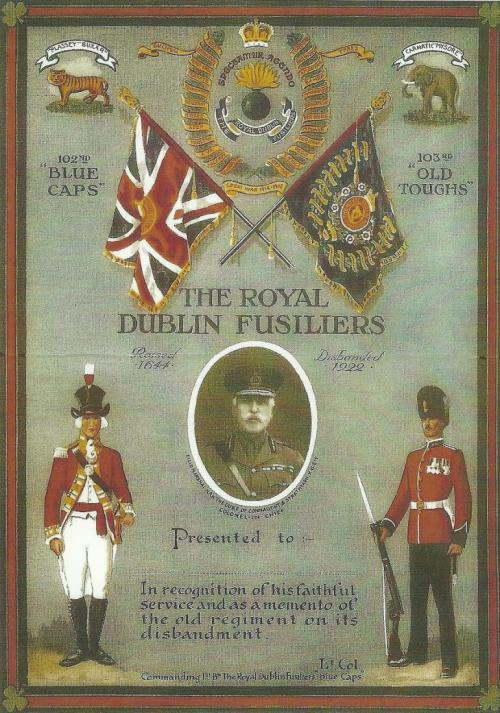 Recognition awarded to those who had served with the Royal Dublin Fusiliers, issued at the time of their disbanding.
