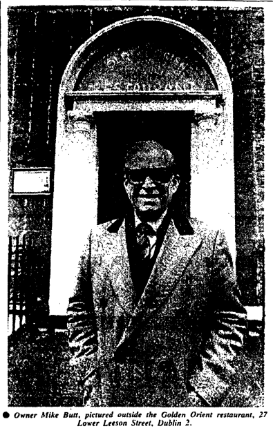 Mike Butt pictured outside the Golden Orient. The Irish Times, 21 March 1986.
