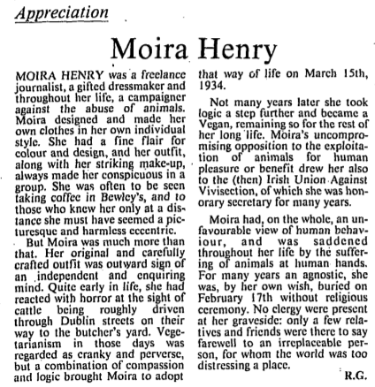 Moira Henry passed away in 1997. The Irish Times, 10 March 1997.