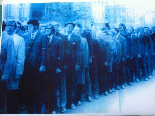 Funeral of Liam Walsh (Saor Eire), O'Connell St, 1970. Note two revolvers. Photos were in possession of the late Paddy Browne