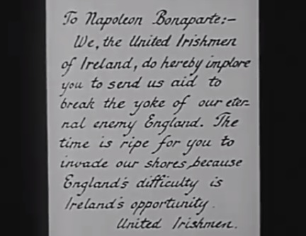 A scene from the film, showing a letter handed by Robert Emmet to Napoleon.