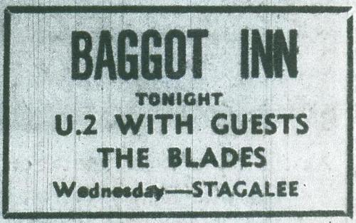 An advertisement for U.2 and The Blades at The Baggot Inn (u2theearlydayz.com)
