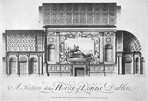 """Sectional engraving of the Irish House of Lords by Peter Mazell based on the drawing by Rowland Omer, 1767."" (Wiki)"