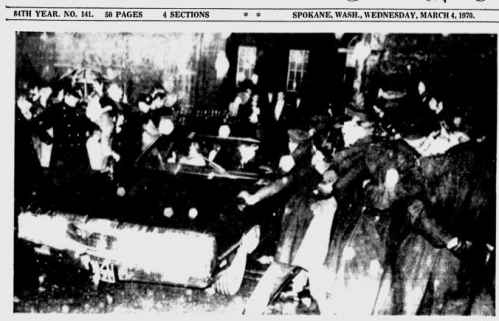 American newspaper image showing Gardaí keeping protesters away from Edward Kennedy at Trinity College Dublin, 1970.