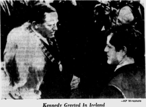 An Associated Press image showing Ted Kennedy in Dublin, being welcomed by Dublin County Chairman P.J Burke