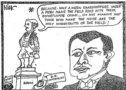 A cartoon in The Irish Times following Kennedy's speech.