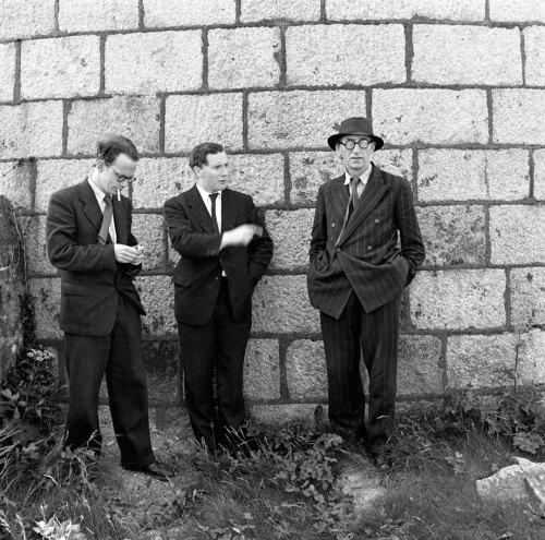 Anthony Cronin, John Ryan and Patrick Kavanagh at the Martello Tower, Sandycove , marking the first Bloomsday (National Library of Ireland)