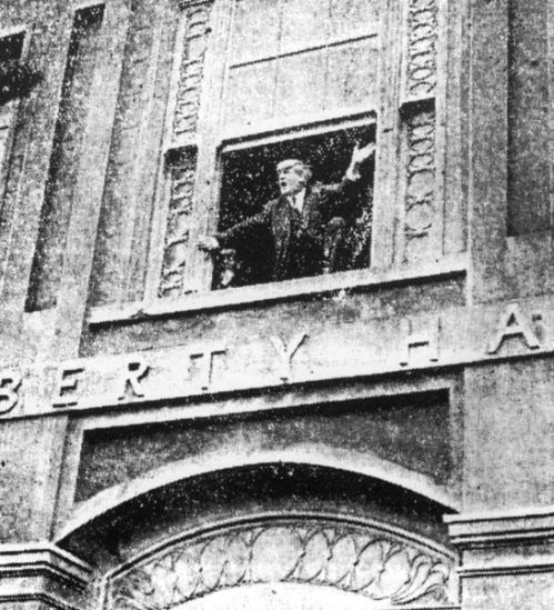 Jim Larkin at the windows of Liberty Hall during the Lockout.