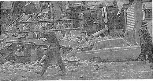 The scene on Fenian Street following a tenement collapse, 1963.