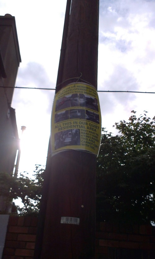 Poster on pole.