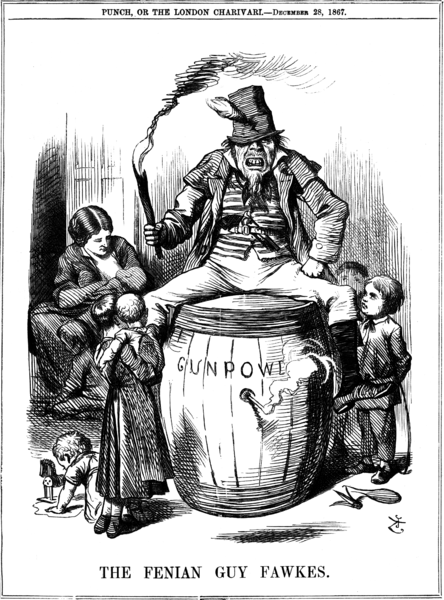 A Punch cartoon from 1867 depicting a 'Fenian Guy Fawkes'